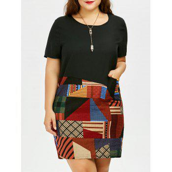 Plus Size Patched Front Pockets Tee Dress