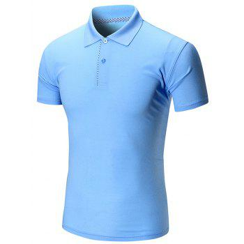 Short Sleeve Buttoned Plain Polo Shirt