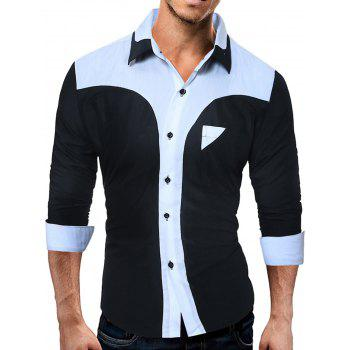 Color Block Panel Long Sleeve Slim Fit Shirt