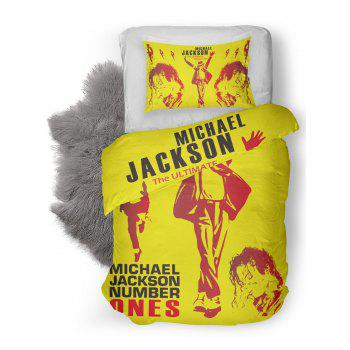 MICHAEL JACKSON Washable Duvet Cover and Pillowcase - YELLOW TWIN