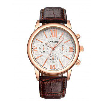 Roman Numeral Faux Leather Wrist Quartz Watch