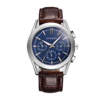 Date Faux Leather Quartz Watch
