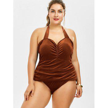 Velvet Plus Size One Piece Swimwear - LIGHT BROWN XL