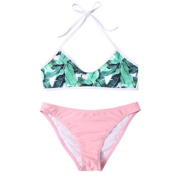 Halter Leaves Print Women's Bikini Set - PINK 2XL