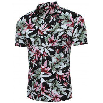 3D Florals Print Breathable Short Sleeve Shirt