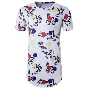 Balloon Graphic Print Crew Neck Longline T-Shirt