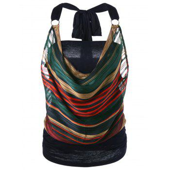 Halter Cowl Lurex Striped Tank Top