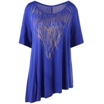 Plus Size Long Asymmetric Graphic T-Shirt