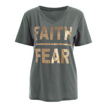 Faith Fear Graphic V Neck Tee