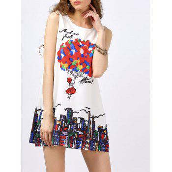 Sleeveless Balloon Print Mini Dress