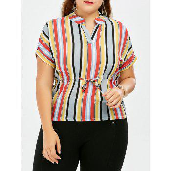 Stripe Chiffon Drawstring Rainbow Plus Size Top