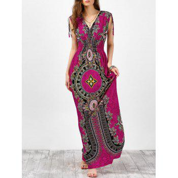 Sleeveless Empire Waist Ornate Print Maxi Dress