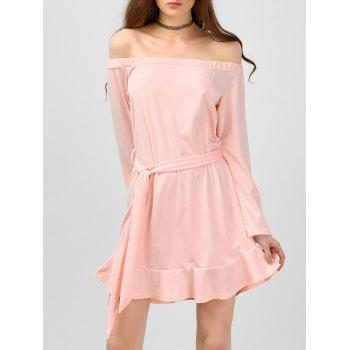 Off The Shoulder Belted Flounce Dress