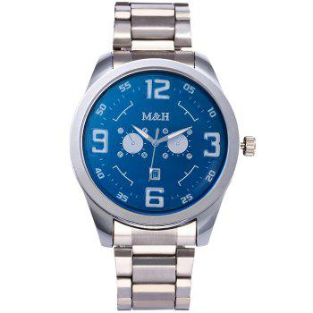 Steel Strap Number Quartz Wrist Watch -  BLUE