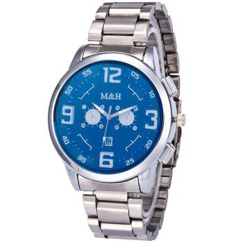 Steel Strap Number Quartz Wrist Watch - BLUE BLUE