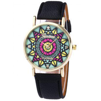Faux Leather Madala Face Watch