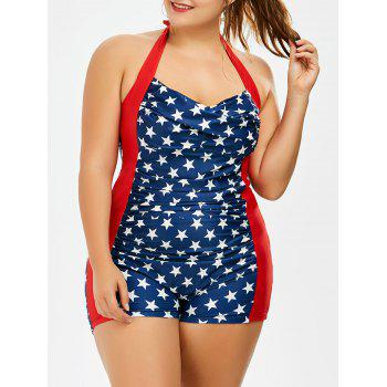 Plus Size Stars Padded Halter Boyshorts Swimsuit