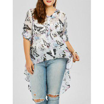 Butterfly Print Plus Size High Low Top