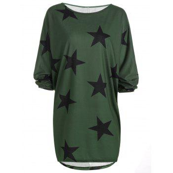 Star Print Long Sleeve T-Shirt Dress