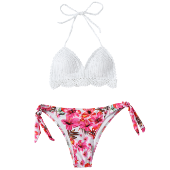 Scalloped Crocheted Floral Bikini Set - WHITE L