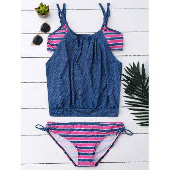 Cami Strap Striped Blouson Tankini Set