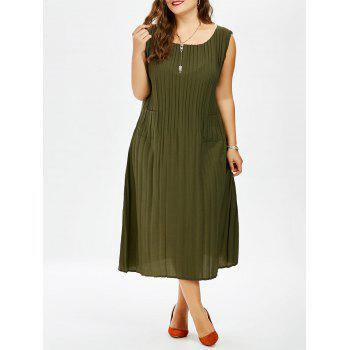 Plus Size Pleated Midi Tank Dres