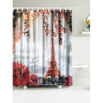 Eiffel Tower Water Resistant Fabric Shower Curtain