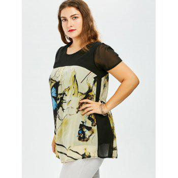 Plus Size Sweet Butterfly Print Asymmetrical Blouse - BLUE 4XL