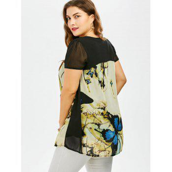Plus Size Sweet Butterfly Print Asymmetrical Blouse - 4XL 4XL