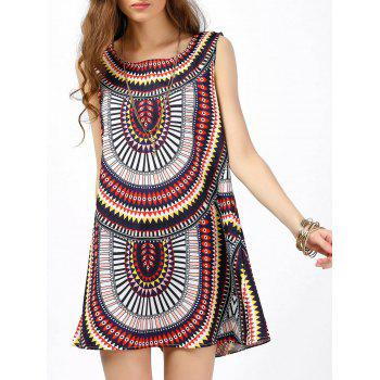 Sleeveless Shift Dress with Tribal Print