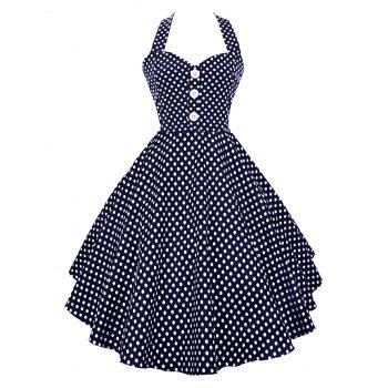 Halter Polka Dot Vintage Swing Dress