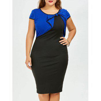 Plus Size Bow Embellished Knee Length Pencil Dress