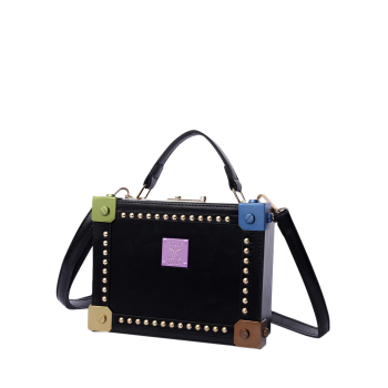 Box Shaped Rivet Top Handle Handbag