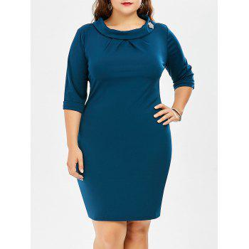 Plus Size Back Zipper Pencil Dress With Sleeves