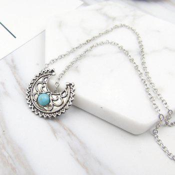 Artificial Turquoise Moon Gypsy Pendant Necklace SILVER