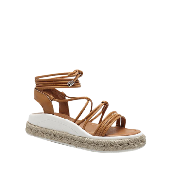 Tie Up Faux Leather Espadrilles Sandals