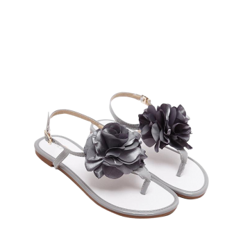 Patent Leather Flower Sandals