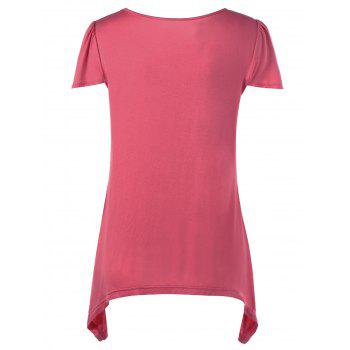 Cap Sleeve Asymmetric Nursing T-Shirt - WATERMELON RED WATERMELON RED