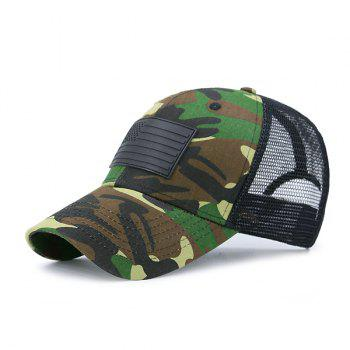 Rectangle Rubber Camouflage Pattern Fishnet Baseball Hat