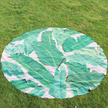 Palm Leaf Pattern Round Beach Throw - GREEN GREEN