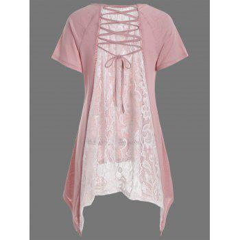 Sheer Lace Panel Long Asymmetric Tee - LIGHT PINK M