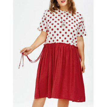 Plus Size Polka Dot Knee Length Smock Dress