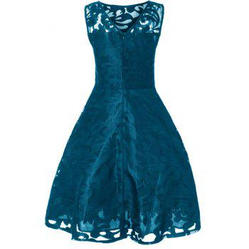 Lace Plus Size Holiday Short Cocktail Dress - PEACOCK BLUE 4XL