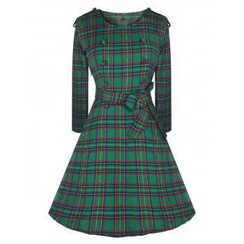 Vintage Buttons Epaulette Plaid Dress