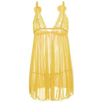 Mesh Lace Panel Sheer Slip Babydoll - ONE SIZE ONE SIZE