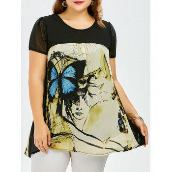 Plus Size Sweet Butterfly Print Asymmetrical Blouse - BLUE BLUE
