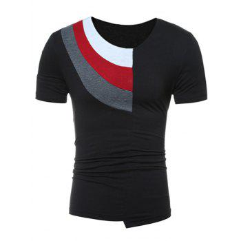 Color Block Panel Short Sleeve Novelty T-Shirts - BLACK L