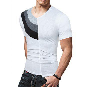 Color Block Panel Short Sleeve Novelty T-Shirts - WHITE WHITE