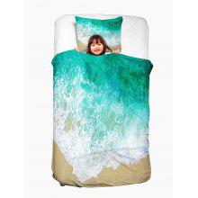 Sea Tide Two Side Printing Washable Duvet Cover and Pillowcase