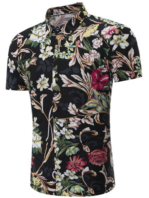 Floral Patterned Short Sleeves Shirt - BLACK 3XL